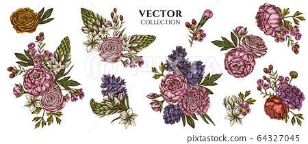 Flower bouquet of colored peony, carnation, ranunculus, wax flower, ornithogalum, hyacinth 64327045