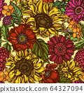 Seamless pattern with hand drawn colored poppy flower, gerbera, sunflower, milkweed, dahlia 64327094