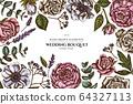 Floral design with colored roses, anemone, eucalyptus, lavender, peony, viburnum 64327113