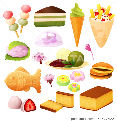 Japanese dessert collection, set isolated on white, asian food menu, vector illustration 64327422