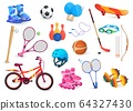 Sport object set isolated on white, active hobby game items and accessories, vector illustration 64327430
