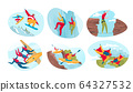 Extreme sport for active people, dangerous outdoor adventures, vector illustration 64327532