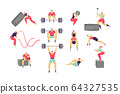Cross fit people training, cartoon characters workout, set isolated on white, vector illustration 64327535