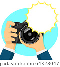 Camera in hands. Place for text, copy space 64328047