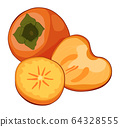 Vector illustration of ripe juicy yellow fruits. Round orange persimmon with green leaves. Close up of fresh kaki . 64328555