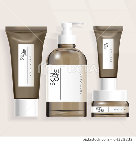 Vector Tube / Bottle / Jar Packaging for Healthcare Haircare Skincare Toiletries Products 64328832