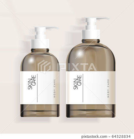 Vector Tinted Boston Pump Bottle Packaging  for Haircare / Skincare / Healthcare / Skincare  Products 64328834