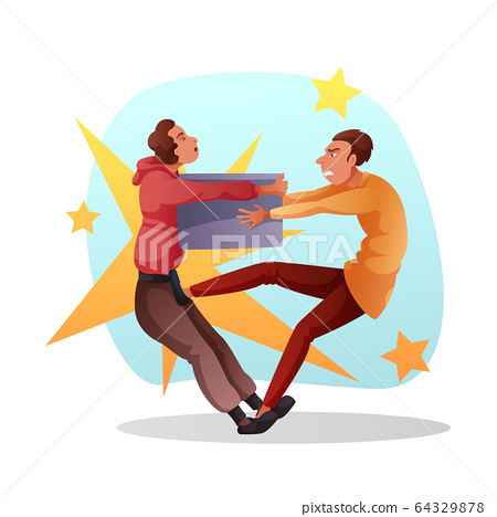 Funny cartoon characters fighting for last sale 64329878