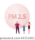 Family Characters Wearing Protective Face Masks Holding Hands. City Environment Air Pollution Concept with Industrial Pipes Emitting Pm 2,5 Dust Smoke and Smog. Cartoon People Vector Illustration 64331661