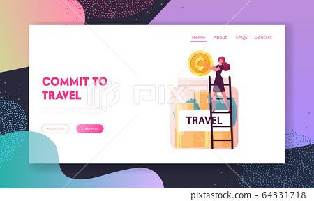 Trip Budget Landing Page Template. Tiny Female Character Stand on Ladder Put Huge Golden Coin into Glass Jar fro Future Travel. Woman Saving Money fro Summer Vacation. Cartoon Vector Illustration 64331718