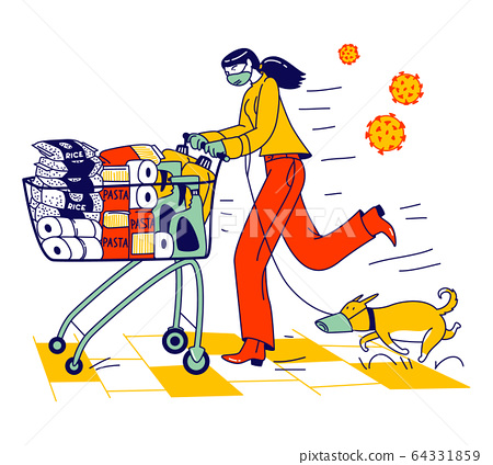 Woman and Dog in Protective Facial Masks Pushing Shopping Cart Full of Different Goods for Doomsday. Panic in Supermarket, Pandemic Chaos, Character Prepare for Apocalypse. Linear Vector Illustration 64331859