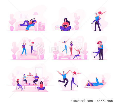 Set of Male and Female Characters Spending Time during Quarantine Covid 19 Self Isolation Staying at Home. Friends Eating Food, Couples Meeting, Fooling or Have Fun. Cartoon Vector People Illustration 64331906