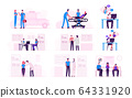 Set Male and Female Characters Wearing Medical Masks Visiting Hospital during Covid19 Pandemic. Global Epidemic of Coronavirus Infection, Quarantine, Self Isolation. Cartoon Vector People Illustration 64331920
