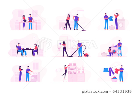 Family Couple Characters Wearing Medical Masks Doing Household Duties and Chores during Covid19 Quarantine Self Isolation. Man Woman Washing Clothes, Cleaning Home. Cartoon Vector People Illustration 64331939