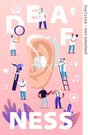 Deafness Concept. Deaf People with Hear Problems Visiting Doctor Audiologist for Ears Treatment. Senior Disabled Characters Using Hearing Aid, Medical Poster Banner Flyer Cartoon Vector Illustration 64331942