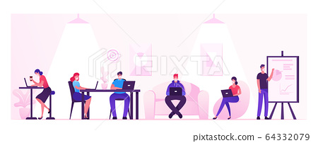 Business People Characters Working and Relaxing in Coworking Area or Creative Office at Covid19 Quarantine. Teamwork Communication, Digital Technologies and Crowdsourcing. Cartoon Vector Illustration 64332079