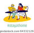 Homeschooling during Covid 19 Quarantine. Woman and Schoolboy Sitting at Desk, Teacher Female Character or Mother Explain Lesson, Help Making Homework for School. Linear People Vector Illustration 64332126
