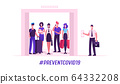 People in Medical Masks Stand in Elevator with Open Doors Waiting Inside Lift Stopped on Floor of Building with Male Character Push Button, Covid 19 Spread Prevention. Cartoon Vector Illustration 64332208