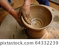 Indian potter hands at work, Shilpagram, Udaipur, Rajasthan, India 64332239