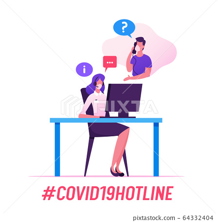 Covid19 Hotline Service. Receptionist Character Support People. Girl Consultant in Headset and Mask Chatting with Client in Call Center Answering Coronavirus Questions. Cartoon Vector Illustration 64332404