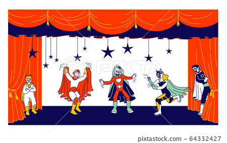 Children Actors in Super Hero Costumes Performing Fairy-Tale on Stage during Talent Show. Talented Schoolkids 64332427