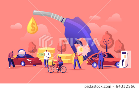 Petrol Economy Concept. Car Refueling on Fuel Station. Man Pumping Gasoline Oil. Service Filling Gas or Biodiesel 64332566