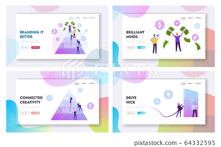 Mlm Business, Eco Transport Website Landing Page Set. Happy Man on Top Holding Money Bills. Worker with Empty Pockets 64332595