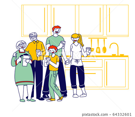 Big Happy Family of Parents, Grandparents and Preteen Boy Stand on Kitchen with Water Glasses Drinking Pure Aqua 64332601