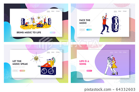 Young People Dancing and Singing in Karaoke Club Website Landing Page Set. Male and Female Characters Sing 64332603