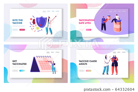 Disease Prevention, Immunization. Website Landing Page Set. People Getting Vaccine from Influenza and other Illness 64332604
