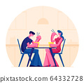 Young Happy Couple Eating Asian Food in Box Holding Sticks Sitting at Table in Japanese or Chinese Cuisine Restaurant 64332728