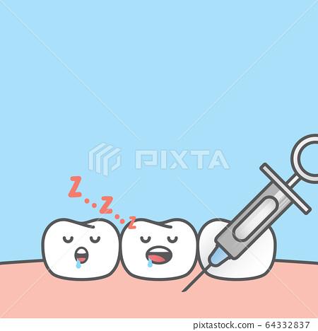 Blank banner Dental anesthesia,teeth cartoon 64332837