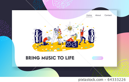 Young People Dancing and Singing in Karaoke Club Website Landing Page. Characters Sing with Microphones 64333226