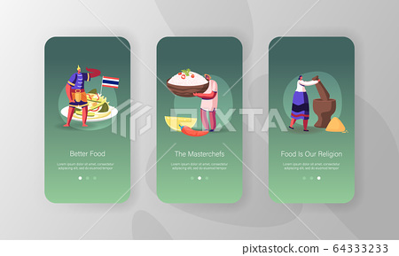 Thai Food Mobile App Page Onboard Screen Template. Tiny People Characters Cooking Traditional Asian Meal 64333233