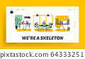 Workaholic and Overload Workers Landing Page Template. Skeletons Business Characters and Alive People Working 64333251