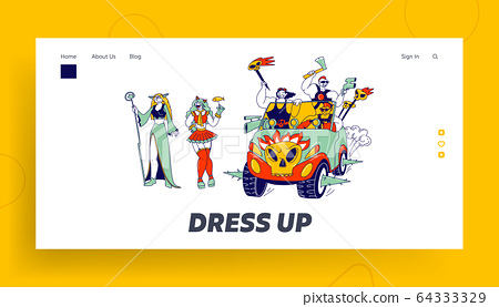 Cosplay Characters Landing Page Template. Culture Hobby and Entertainment. Happy Anime Fans Party 64333329