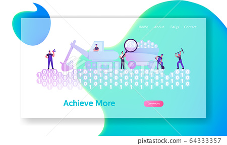 Data Mining Website Landing Page. Workers with Pickaxe, Spade and Excavator Digging Binary Code Ground 64333357