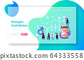 Hormones Health, Diagnostics and Treatment Landing Page Template. Tiny Female Characters Patients and Doctor 64333558