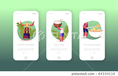 Thai Food, National Meal, Seafood Menu Mobile App Page Onboard Screen Template. Tiny People Characters 64334118