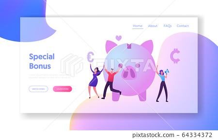 Bonus Card and Loyalty Program Website Landing Page.Tiny Male and Female Characters Happily Jumping near Piggy Bank 64334372