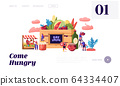 Eat Local Website Landing Page. Tiny Male and Female Characters Buy Fresh Healthy Tasty and Organic Seasonal Food 64334407