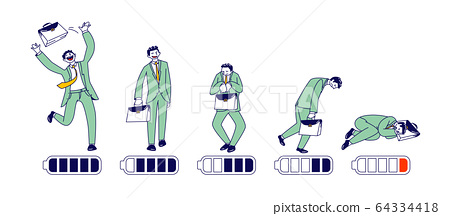 Businessman Energy Level Timeline from Happy Active Position till Exhausted Tired Man Lying on Floor with Low Battery 64334418
