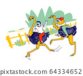 Happy People Tourists Spend Holidays in Thailand or Indonesia. Characters Riding on Ostriches on Farm Zoo 64334652