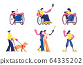 Set of Disabled People Lifestyle. Male and Female Handicapped Characters Young and Old Men and Women on Wheelchair 64335202
