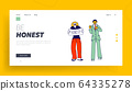People Swear and Tell Truth Landing Page Template. Man Gesturing Hold Palm on Chest and Woman Performing Banner 64335278