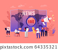 Fake News and Gossips. Tiny People Reading Newspapers and Social Media Information in Internet on World Map 64335321