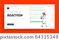 Chemistry Science Staff at Work Landing Page Template. Scientist Character in Lab Coat Conducting Experiment 64335349