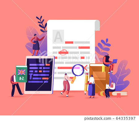 English Grammar, Examination. Tiny Characters Correct Mistakes and Errors in Paper and Digital Test. Fail Exam Results 64335397