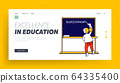 Education and Getting Knowledge at Home Website Landing Page. Little Girl Writing Word Homeschooling on Chalkboard 64335400