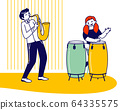 Girl Drummer and Boy Saxophone Player Playing Musical Composition Training before Jazz Performance on Stage or Exam 64335575